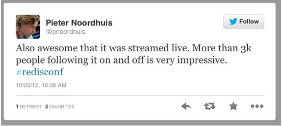 Tweet by Pieter Noordhuis @pnoordhuis